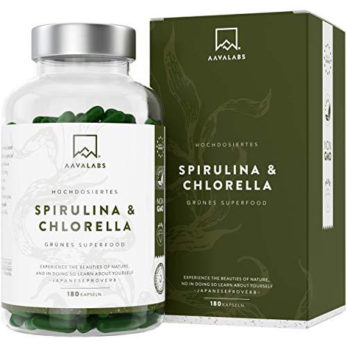 Spirulina Chlorella Algen Kapseln [ 1800 mg ] - 180 Pulver Kapseln - Hochdosiert, 100% vegan und...