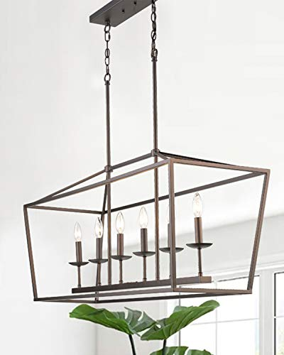 Emliviar 6-Light Kitchen Island Pendant Lighting, Island Light Fixtures in Oil Rubbed Bronze Finish, 3036-6LP