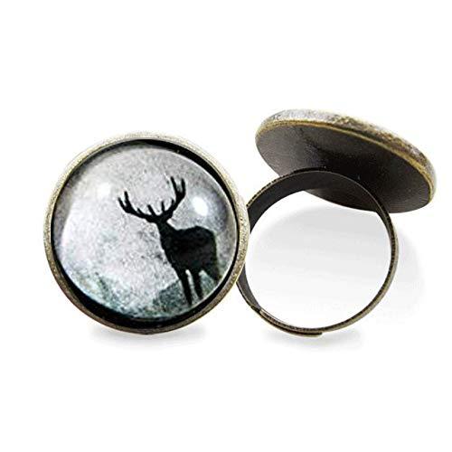Anillo de reno, anillo de Navidad, anillo grande, joyería de Navidad, anillo...