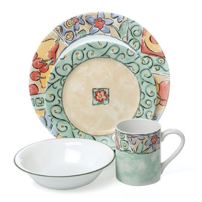 Corelle Impressions Watercolors 16 Piece Dinnerware Set, 2.3, Multicolor