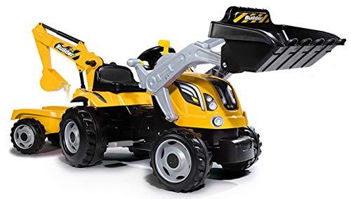 Smoby 7600710301 - Traktor Builder Max - Trettraktor mit Anhänger, Trailer verfügt über Tragkraft von bis zu 25 kg, Schaufel bis zu 3 kg belastbar, Traktor für Kinder ab 3 Jahren, Gelb