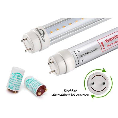 2er Auralum® 150cm 24W T8 G13 Leuchtstoffröhre Warmweiß 2800~3200K 2835*144LED 2500LM LED Röhre Tube Leuchtmittel mit der transparenten Abdeckung inkl. LED Starter ersetzt 58W Gasröhre