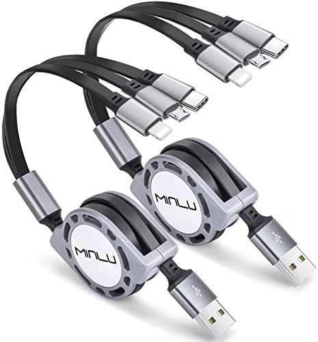 MINLU 1.2m Cable cargador retráctil múltiple 3A, 2 Piezas 3 en 1 Cable de Carga USB Múltiple con teléfono/Tipo C/Micro USB para teléfono 12 11 Xs/Tablets/Samsung Galaxy/Pixel/Huawei/LG/Xiaomi (Gray)