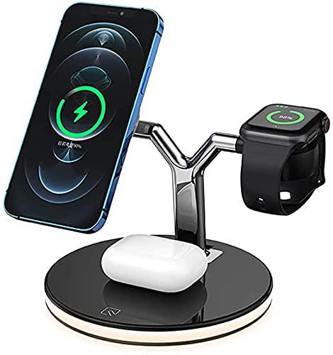 QXIAO Cargador Inalámbrico, Soporte de Carga Magnética Rápida Qi de 25W para Apple Watch Airpods 6 5 4 3 2 Estación de Carga Inalámbrica para iPhone 12 Mini Pro MAX,Black