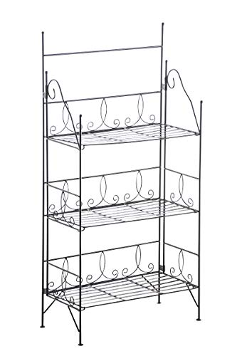CLP Cengiz stabiles Standregal im Landhausstil | Klappbares Robustes Eisenregal mit 3 Regalböden erhältlich, Farbe:schwarz