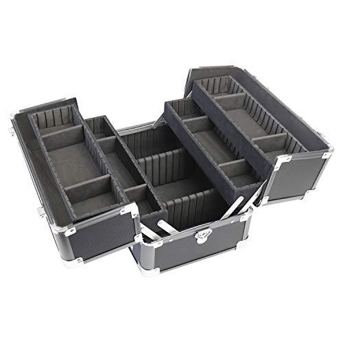 HMF 14901-02 Schminkkoffer, Alu Beauty Case verstellbare Trennwände, Kosmetikkoffer, 33 x 22,5 x 24 cm