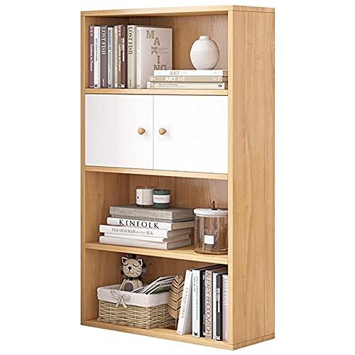 Librero con Puertas Librería de 4 niveles con armario Estanterías independientes Gabinete de exhibición de almacenamiento Estantería industrial rústica para sala de estar dormitorio oficina en casa