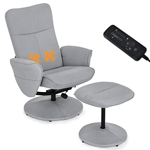 Giantex Swivel Recliner Chair and Ottoman Set w/Massage Lumbar Function, Adjustable Backrest, Fabric Lounge Armchair with Wrapped Base, Modern Gaming Recliners with Footrest Stool