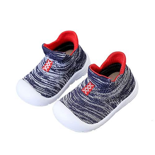 DEBAIJIA Zapatos para Niños 3-30M Bebés Caminan Niñas Antideslizantes Suela Blanda Malla Material Transpirables 20/22 EU Azul (Tamaño Etiqueta 19)