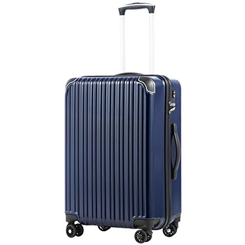 [クールライフ] COOLIFE スーツケース キャリーバッグダブルキャスター 二年安心保証 機内持込 ファスナー式 人気色 超軽量 TSAローク (ネービー, S サイズ(機内持ち込み))