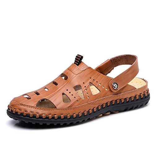 ailishabroy Sandalias de Dedo para Hombre Cerrado Cómodo Sandalias de Cuero para Verano Hombre