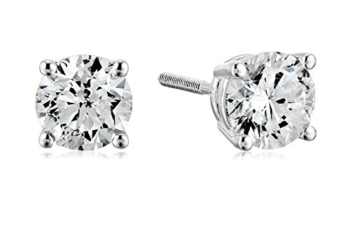 Amazon Collection AGS Certified 14k White Gold Diamond with Screw Back and Post Stud Earrings (1cttw, J-K Color, I1-I2 Clarity)