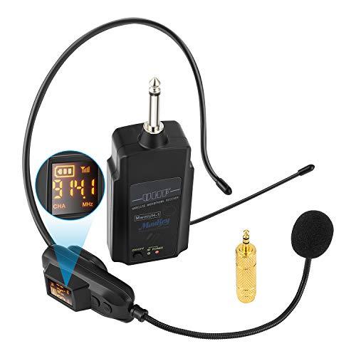 Moukey MwmHU-1 Wireless UHF Mikrofon wiederaufladbar, kabelloses Mikrofon Headset und Handheld 2 in 1 Funkmikrofon mit LED Anzeige für Konferenzen Unterricht Reiseleiter, 1/8 ''&1/4 '' Stecker
