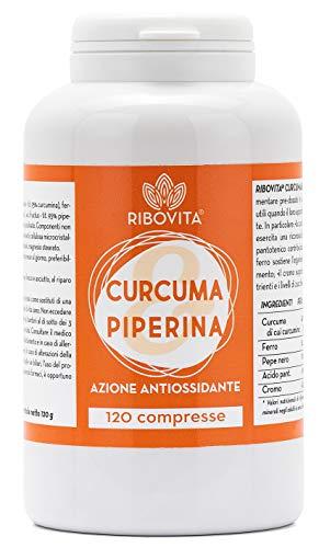 RIBOVITA Integratore Curcuma e Piperina Plus Naturale Curcumina 380mg a dose al 95% con Vitamina B5, Ferro e Cromo120 Compresse ad Alto Dosaggio Dimagrante Antinfiammatorio - Brucia Grassi