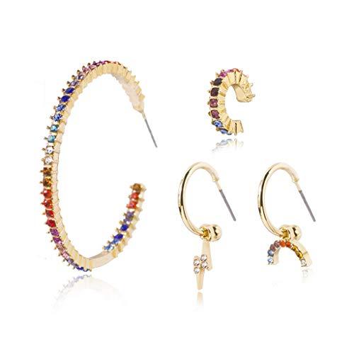 Yushu Pendientes de tuerca de diamante arco iris, juego de 4 piezas de aretes de piedra, pendientes de aro de cristal arco iris, pendientes de gota de circonita cúbica brillante, regalo de joyería
