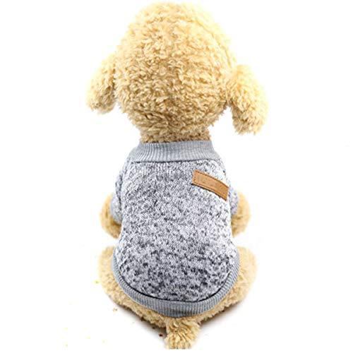 Puseky Hundekatze-Haustier-Rollkragenpullover-Winter-Welpen-Strickwaren warme Haustier-Kleidung (Color : Off-White, Size : XXL)