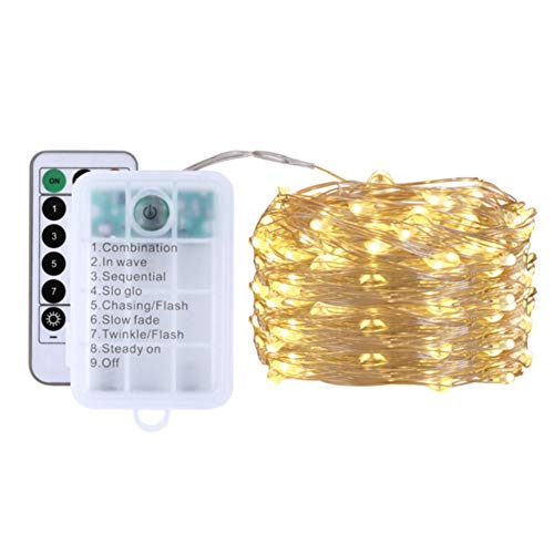 shangdi Copper Wire Christmas String Lights Dimmable with Remote Control, Decute Fairy Starry Lights with UL Cerficated Decorative for Party Wedding Bedroom Christmas Tree,