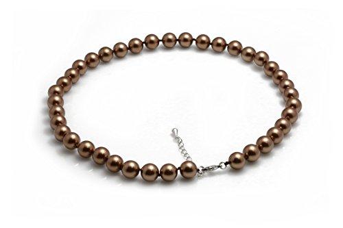 Schmuckwilli Südsee Tahiti Damen Muschelkernperlen Perlenkette aus echter Muschel braun 45cm 10mm mk10mm036-45
