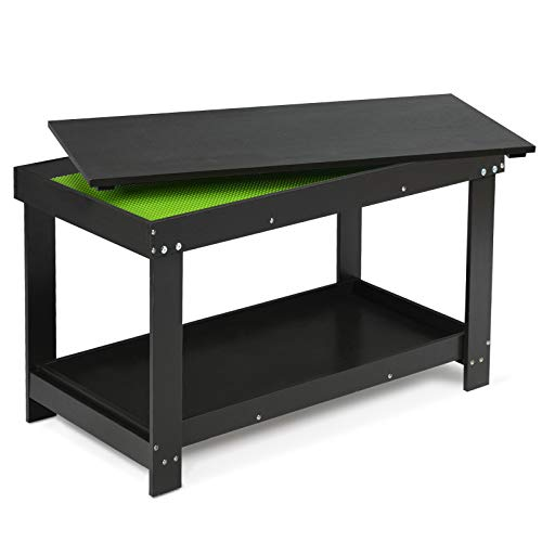 Costzon 2 in 1 Kids Activity Table w/Storage, Building Block Table w/Board for Bricks Crafts Arts Draw, Children Solid Wood Play Table Desk for Playroom, Preschool Toddler Boys & Girls Gift (Black)