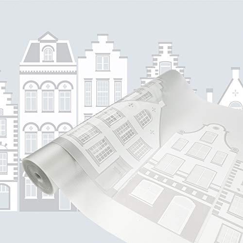 Askol DecoMeister Glasfolien Fensterfolien Deko-Folien Fensterdekor Statisch Haftende Fensterfolie UV-Filter Adhäsionsfolie 45x240 cm New Haven Häuser