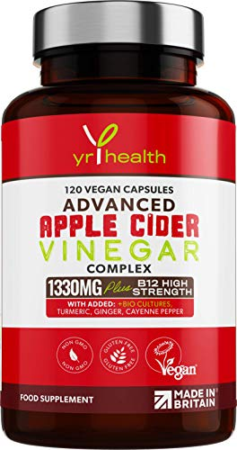 Raw Unfiltered Apple Cider Vinegar Capsules - 1330mg with Probiotics for Digestive Support, Turmeric, Ginger, Vitamin B12, Bilberry, Inulin & Cayenne Pepper - 120 Vegan Capsules - Made in The UK