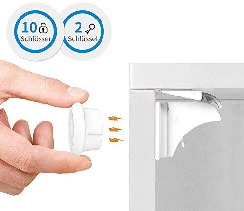 Norjews Kindersicherheit Magnetisches Schrankschloss (10 Schlösser & 2 Schlüssel), Ohne Bohren oder Werkzeug Sicherheitssets, Unsichtbare Kindersicherung für Schränke, Schubladen usw