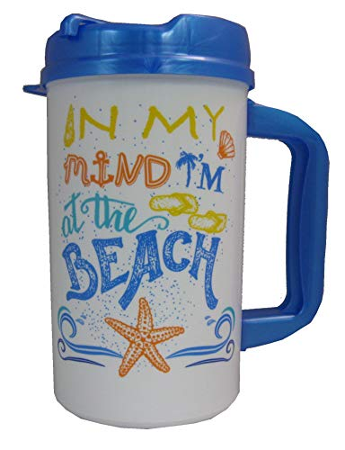 In My Mind Im At the Beach 32oz Insulated Travel Mug with Lid