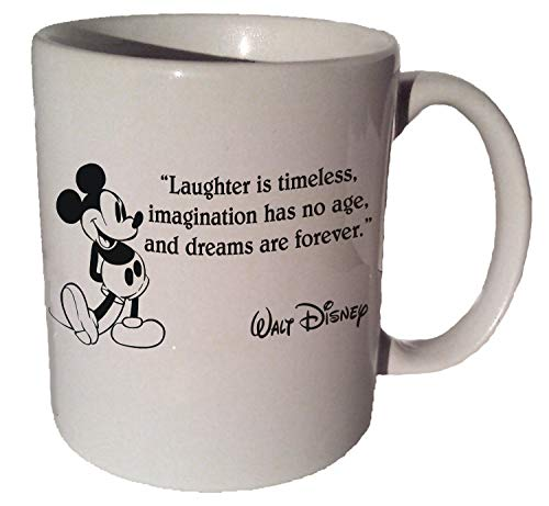 Mickey Mouse Disney'Laughter Is Timeless.' Quote Coffee Tea Ceramic Mug 11 Oz