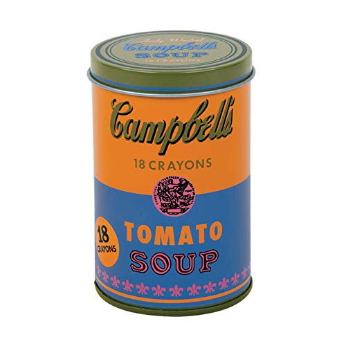 Mudpuppy Andy Warhol Soup Can Crayons, Orange, Includes 18 Crayons Inspired by Iconic Andy Warhol Piece, Warhol-Inspired Crayon Colors in Orange and Blue Tin, Ideal Art Lovers Gift