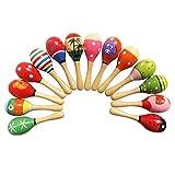 4pcs juguetes para niños pequeños Maracas de madera agitadores de sonido Egg LT Musical educativo del Partido favor Kid Baby Shaker Sand Hammer juguete Color AL azar
