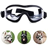Tankyomilex Dog Goggles for Medium Large Breed Dog Eye Protection Sunglasses Windproof UV-Proof Goggles for Outdoor, Clear Lens & Adjustable Head Straps