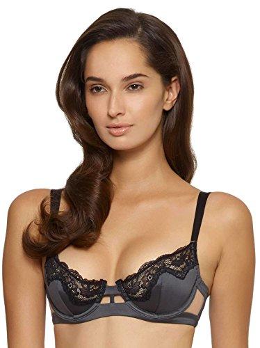 Felina Unveiled Entre Doux Unlined Demi Bra | Viscose Satin | Wide Strap (Black Gray, 36DD)