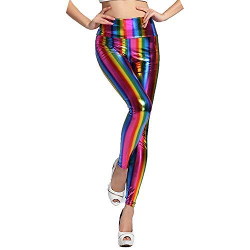SERWOO Damen Leggings Glanz Leggings Glänzende Leggings Wetlook Leggings Nass Look Strumpfhose Hose Kunstleder Leggings Hohe Taille Regenbogen Farben für Alltag Karneval Kostüm