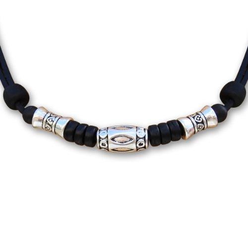 HANA LIMA ® Halskette mit Edelstahlperlen Surferkette Lederkette Herrenkette