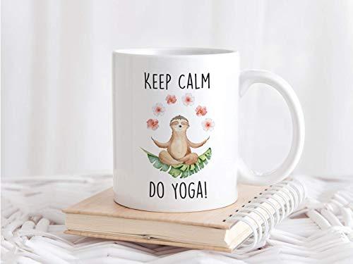 Faultier Tasse mit Spruch Keep Calm Do Yoga