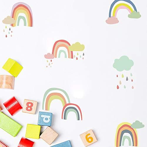 Wandaufkleber, BlumWay Süß Bunter Regenbogen Tapete Vinyl Aufkleber Wandbild Kinderzimmer Dekor Papier Blatt Babyzimmer Wanddeko Wandtattoo Set