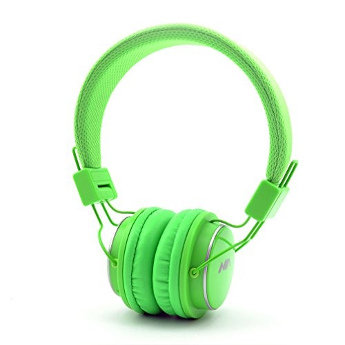 GranVela Q8 Wireless Bluetooth Headphones,Multifunction Foldable Headset with FM Radio, TF Card Player,Microphone and 3.5mm Detachable Cable,For Kids and Adults - Green