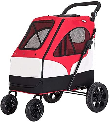 Carrito de engranajes para mascotas, carro de perros para perros/gatos individuales o múltiples, espacio de almacenamiento y entrada con cremallera, PET puede caminar/salir fácilmente, no hay nece