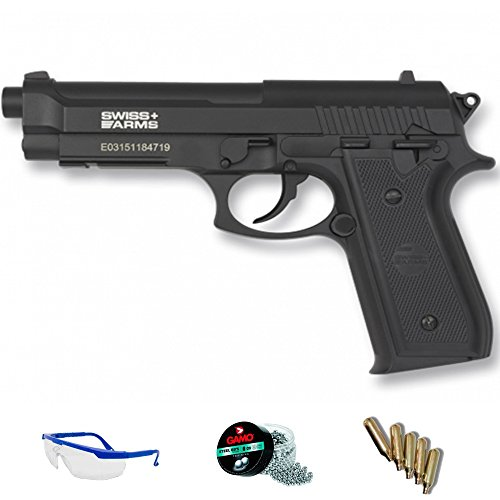 PACK pistola de aire comprimido Swiss Arms PT92 - Arma de CO2 y balines BBs (perdigones de...