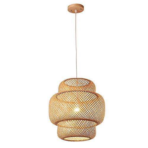 Lámpara colgante de mimbre bambú, E27 Moderna pantalla de mimbre natural para Araña de lámpara de techo Vintage Mano lámpara de ratán Sombra luz Colgante Restaurante salón Pasillo café iluminación