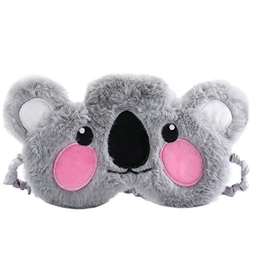 Plüsch-Augenmaske, Nette 3D Flauschige Tieraugenmaske, Koala Schlafmasken Kinder Frauen, Gummiband Schlafbrille Nachtmaske für Reisen Nickerchen Nacht