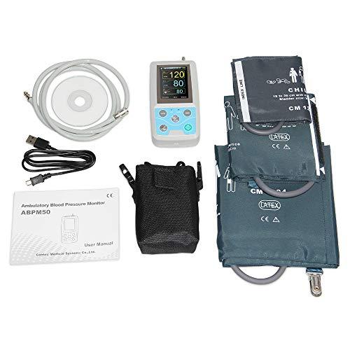 TQ Ambulantes 24-Stunden-Blutdruckmessgerät Holter Abpm50 + 3-teilige Manschetten, PC-Software, Manschetten für Kinder + Erwachsene + große Erwachsene