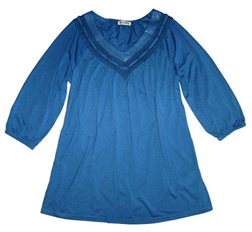 Boysen´s Tunika Blusen Shirt Gr 38 S 40 42 M blau mit Spitze (40)