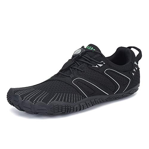 SAGUARO Mens Womens Barefoot Minimalist Trail Running Shoes Outdoor Sports Walking Jogging Gym Fitness Zero Drop Quick Dry Breathable Water Sneakers Black 11 Women/9 Men