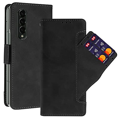 NEWZEROL Ledertasche für Samsung Galaxy Z Fold 3 Hülle Leder [rutschfest] [Kratzfest] [Kartensteckplätzen] Multi Karten Steckplatz, Klappetui Lederfaserschutz Stoßdämpfer Handyhülle - Schwarz