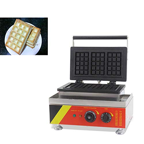 Hanchen Rectangle Waffle Make Machine Electric Square Belgian Waffle Maker 3Pcs Non-stick Temperature and Time Control Waffle Iron for Restaurant Bakery Snack Bar Home Kitchen Commercial Use(Cake Size: 4.7×3.1×0.9in) (110v 60Hz American Plug)