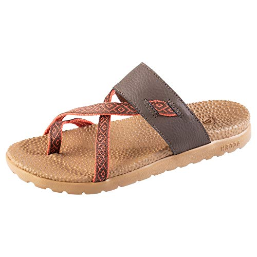 Acorn Women's Everywear Riley Sandal, lightweight slip-on with a cushioned footbed plus a soft fabric and leather strap, Walnut, 7