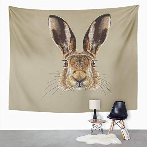 Y·JIANG Tapiz de cara de una liebre salvaje realista conejito sepia marrón pálido decorativo gran tapiz de pared para sala de estar, dormitorio, 80 x 60 pulgadas