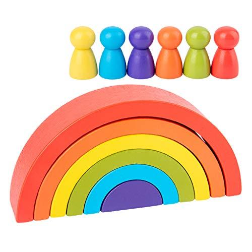 F Fityle Arco Iris de Bloques de Construcción de Madera para Niños, Juguetes de Aprendizaje Creativo, Regalos, 3 Juegos