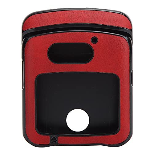Hülle mit Clip für Motorola RAZR 5G Flip Phone, Stoßfeste Handy Lederhülle für Motorola Razr 5G Lederhülle(rot)